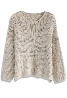 Handmade With Love Knit Top in Light Tan - New Arrivals - Retro, Indie and…