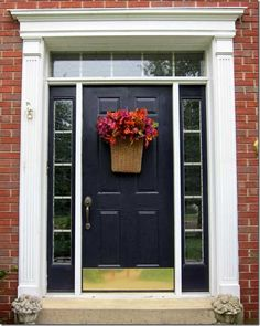 Decorating Landscape Photos Front Yard Decorative Glass Front Entry Doors Pictures Of Christmas Wreaths Decorated Modern Fall Front Door Decor Interior Homes Front Door Colors, Front Door Decor, Wreaths For Front Door, Wall Colors, Glass Front Door, Front Doors, Front Entry, Front Porch, House Tweaking
