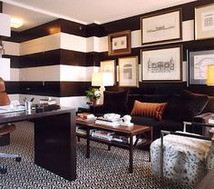 black and white stripe wall in a home office