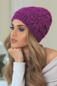 OtherEden - high quality lingerie and fashion from the best European brands. Knitted Hats, Crochet Hats, Quality Lingerie, Nightwear, Winter Hats, Beanie, Wool, Knitting, Purple