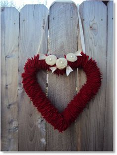 Valentine heart wreath from repurposed coats tutorial · Felting | CraftGossip.com....  Felted wool....