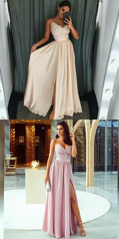 Simple spaghetti straps peral pink prom party dresses, modest split lavender evening formal gowns.