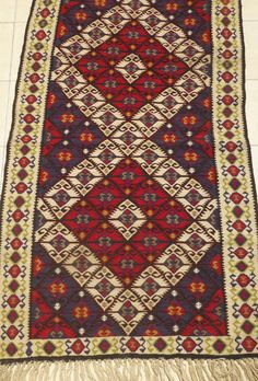 Turkish Kilim Rug, Decorative Handwoven Area rug, Gorgeous Ethnic carpet in red and navy tones 5 DAY DELIVERY Bohemian Home decor
