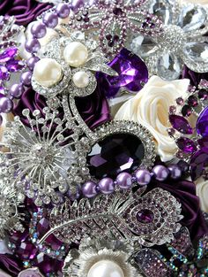 Purple Wedding Broach Bouquet. Deposit on made to order Crystal Purple Heirloom Bridal Bouquet.