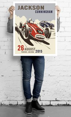 Personalized boys Grand Prix race car wall art.  Add your name, birth date, location and race car numbers! Start your engines and personalize your own race car poster.