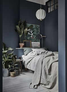 Gravity Home: Small Bedroom with Plants in a Tiny Blue Stockholm Apartment - Interior Design Fans Small Master Bedroom, Modern Bedroom, Minimalist Bedroom, Trendy Bedroom, Bedrooms Ideas For Small Rooms, Urban Bedroom, Minimalist Kitchen, Minimalist Living, Contemporary Bedroom