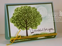 "Stampin' Up! Sheltering Tree and the ""Reverse Photopolymer Stamping Technique"". Video included. Debbie Henderson, Debbie's Designs."