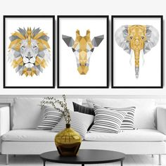 Set of 3 Abstract Art Prints of Paintings Black Grey and Gold Lion Wall Art, Grey Wall Art, Yellow Wall Art, Canvas Wall Art, Wall Art Prints, Beige Art, Grey Art, Grey And Yellow Living Room, Grey Yellow