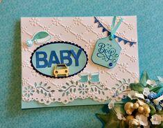 Baby boy card Martha Stewart punch, Spellbinders embossing folder, Stampin up Santa's suit