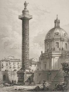 Giovanni Battista Piranesi, Italian, Colonna Trajana (Trajan's Column), from Vedute di Roma (Views of Rome), Etching platemark: 53 x 40 cm x 15 in.) The Arthur Ross Collection Photo credit: Yale University Art Gallery. Architecture Romaine, Trajan's Column, Fachada Colonial, Art Gallery, Historical Architecture, Architecture Art, Italian Artist, Realism Art, Grand Tour