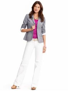 A fitted white pant goes well with the lining of blazer that you see cuffed around the elbow. The pink shirt adds the right burst of color!! | Banana Republic