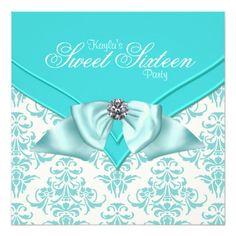 Teal Blue Damask Sweet 16 Party Custom Invitation