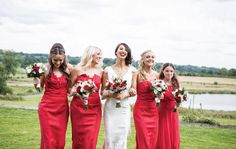 Real bride Jemma's bridesmaids looked radiant in red; as featured in Your West Midlands Wedding issue 36. Image courtesy of Jo Hastings Photography www.johastingsphotography.co.uk