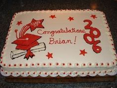 Graduation red white sheet cake