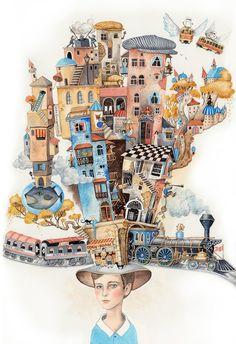 """""""Childhood spent in Baku"""" Illustration de l'artiste ukrainienne Sveta Dorosheva"""