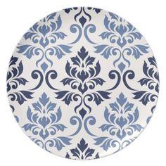Feuille Damask Lg Pattern Blues on Cream Dinner Plate - pattern sample design template diy cyo customize