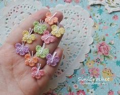 Crochet Appliques for your crafts. Dollhouse by SiniCrochet Crochet Appliques, Crochet Butterfly, Trending Outfits, Unique Jewelry, Handmade Gifts, Floral, Flowers, Crafts, Vintage