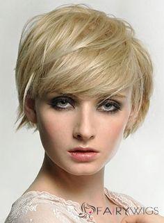 Sparkling Short Blonde Female Straight Vogue Wigs 8 Inch