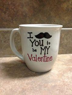 Mustache valentines mug by sarahmarie28 on Etsy, $12.00