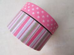 Washi Tape  Double Roll  Pink and Brown Stripes by HazalsBazaar, $5.00