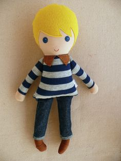 Fabric Doll Rag Doll Blond Haired Boy Doll in a Blue and Gray Striped Sweater and Jeans Diy Rag Dolls, Sewing Dolls, Tiny Dolls, Soft Dolls, Fabric Toys, Paper Toys, Bitty Baby Clothes, Dolls And Daydreams, Handmade Stuffed Animals