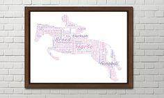Horse personalised art print horses print horse by pienosudesigns