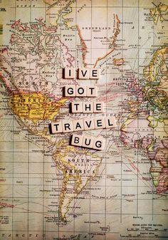 always travel bug wanderlust map vintage blocks road trip Places To Travel, Travel Destinations, Travel Things, Holiday Destinations, Couple Travel, Family Travel, Bug Art, I Want To Travel, Travel Bugs
