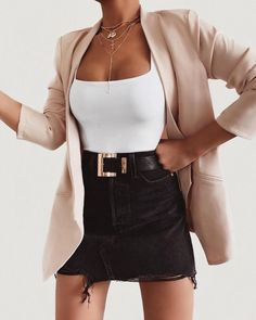 black denim skirt white top pink blazer jacket outfit 24 Must-Have Cute Outfits Date Night Outfits To Wear NOW! Mode Outfits, Fall Outfits, Summer Outfits, Fashion Outfits, Womens Fashion, Fashion Ideas, Skirt Outfits For Winter, Mini Skirt Outfits, Fashion Clothes