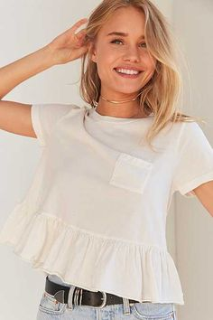 Shop Truly Madly Deeply Babydoll Peplum Tee at Urban Outfitters today. Cool Outfits, Summer Outfits, Casual Outfits, Fashion Outfits, Kurta Designs Women, Blouse Designs, Yellow Sweater Outfit, Easter Dresses For Women, Looks Style