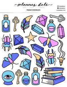 Free Magic Doodles Printable Stickers - New Deko Sites Tumblr Stickers, Cool Stickers, Journal Stickers, Scrapbook Stickers, Magic Doodle, Create This Book, Doodles, Free Printable Stickers, Halloween Stickers