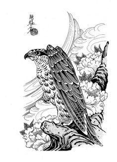 100 Japanese Tattoo Designs I By Jack Mosher Aka Horimouja Japanese Tattoo Designs, Japanese Tattoo Art, Bodysuit Tattoos, Tattoo Oriental, Hawk Tattoo, Tattoo Ink, Yarn Painting, Traditional Japanese Tattoos, Asian Tattoos
