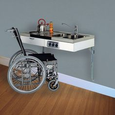 Wheelchair accessible kitchen The popular John Strand Mini Kitchen has been sold throughout the UK for over 30 years used in a wide variety of residential and commercial situations. Mini Kitchen, Kitchen Small, Small Kitchens, Handicap Accessible Home, Small Home Offices, Tiny Living, Gadgets, Construction, Kitchen Flooring