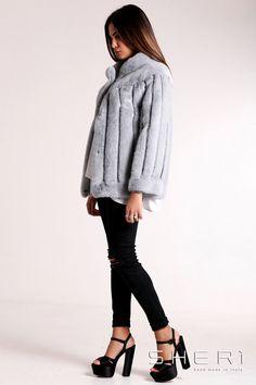 Simonetta - Giacca visone grigio + intarsi in pelle - Collezione Jolie