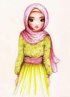 Muslimah in pink and green flower pattern hijab. Character Illustration, Illustration Art, Hijab Drawing, Tatto Love, Cars 1, Slot Cars, Islamic Cartoon, Anime Muslim, Hijab Cartoon