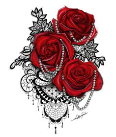 Tattoos for women. Buy this Red rose, black lace and pearl tattoo design from www.tattootailors.com. Designed by the wonderful KL Sketches for Tattoo Tailors.
