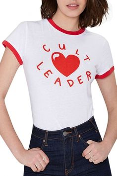 White Short Sleeve Red Letter Heart Print T-Shirt - Beautifulhalo.com