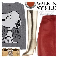 """Current Autumn Trends: Metallic Knee High Boots"" by simplynatonya ❤ liked on Polyvore featuring Princess Goes Hollywood, GEDEBE, Sandro, GUESS, Urban Decay, gold, red, metallicshoes, graphicsweater and Kneehighboots"