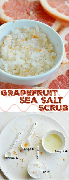<img> Get ready for flip flop season with this Grapefruit Sea Salt Body Scrub Recipe! This diy scrub is simple to make and smells divine. A natural homemade skin care product made with sea salt, coconut oil, grape seed oil and grapefruit essential oil. Salt Scrub Recipe, Body Scrub Recipe, Diy Body Scrub, Diy Scrub, Natural Body Scrub, Sea Salt Body Scrub, Sea Salt Scrubs, Sugar Scrubs, Coconut Oil Scrub