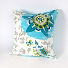 Suzani Turquoise and Gray Pillow Cover 18 inch by MiCasaBella, $40.00