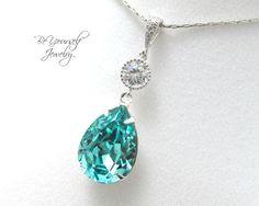Teal Blue Earrings Necklace Set Swarovski by BeYourselfJewelry