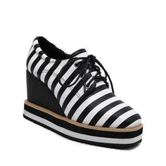 Striped Square Toe Lace-Up Platform Shoes #>=#>=#>=#>=#> Click on the pin to check out discount price, color, size, shipping, etc. Save and like it!