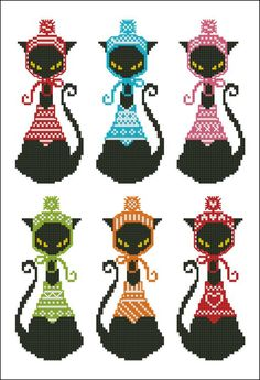Mini Cross Stitch Pattern:Black Cat Knits Bookmark  Design Source:Pinoy Stitch  DMC Floss Colors:8  Stitch Count:31x75(Each Black Cat)  Approximate Finished Size on Recommended Fabric:*  14count =2wx5hInches  16count =2wx5hInches  18count =2wx4hInches  22count =1wx3hInches
