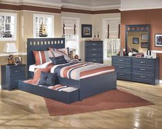 Leo Youth Blue Wood 4pc Bedroom Set W/Full Trundle Bed