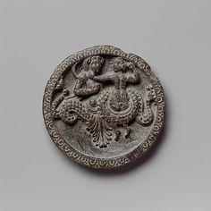 Dish with Marine Creature and Couple Date: 1st century B.C. Culture: Pakistan (ancient region of Gandhara) Medium: Schist