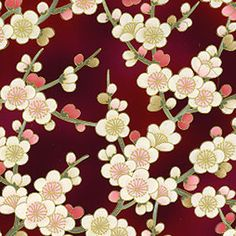 Japanese Fabric with Plum Blossoms (ume) ✫♦๏༺✿༻☼๏♥๏花✨✿写☆☀🌸✨🌿✤❀ ‿❀🎄✫🍃🌹🍃❁~⊱✿ღ~❥༺✿༻🌺♛☘‿SA May ♥⛩⚘☮️ ❋ Japanese Paper, Japanese Fabric, Japanese Plum, Japanese Textiles, Japanese Patterns, Textile Patterns, Print Patterns, Japanese Background, Japon Tokyo