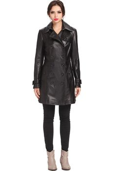 "Jessie G. Women's ""Ginger"" New Zealand Lambskin Leather Pea Coat. Check out this great style for $349.99 on Luxury Lane. Click on the image above to get a coupon code for 10% off on your next order."