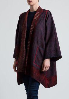 Mieko Mintz Long Jacket in Black/ Red Santa Fe Dry Goods, Long Jackets, Shibori, Silhouettes, Bali, Kimono Top, Layers, Sew, Coats