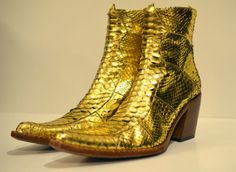 Free Lance Gold Python Snake Western Ankle Boots size 38