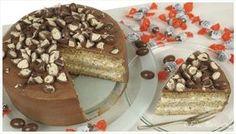 Schoko-Bons-Torte - Haselnuss-Biskuitboden mit Milchmädchen Sahne-Mascarpone-Haselnuss-Creme und Schokoladenganache mit Schokobons verziert :) - http://evasbackparty.de/schoko-bons-torte/