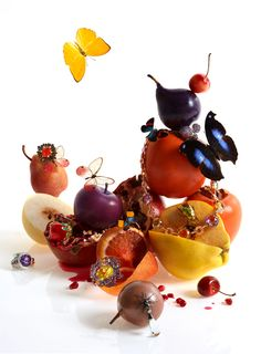 Serlin Associates — Kevin Mackintosh — Portfolio fruit and butterflies still life editorial jewellery and accessories